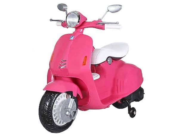 12v Ride On Kids Moped Classic Retro Vespa Style Scooter with stabilisers Pink