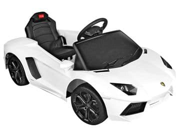 6v Electric Ride on Car Lamborghini Aventador Official Model in White with Parental Control