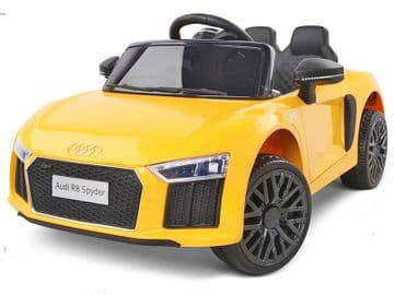 Audi R8 Spyder Licensed 12v Electric Ride on Toy Car Yellow with Parental Control