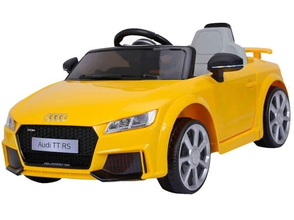 Audi TT RS Yellow Official 12v Electric Ride on Toy Car with Parental Control
