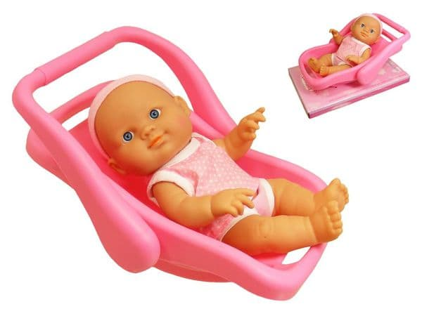 """Baby Cuddles 9"""" Baby Doll with 2 in 1 Carry Along Travel Car Seat & Rocker Toy"""