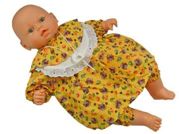 """Baby Doll Toy White Soft Body Vinyl Crying Sound Battery Operated Yellow Dress 18"""" 46cm"""