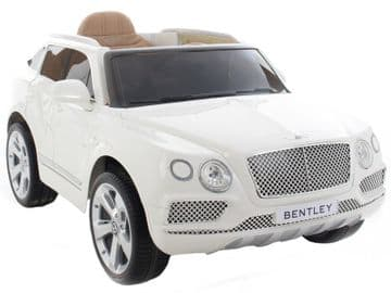 Bentley Bentayga 12v Electric Car White SUV Official Ride on Jeep with Parental Control