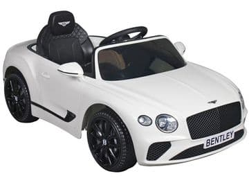 Bentley Continental GT Official 12v Electric Ride on Car White with Remote Control