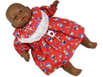 """Black Baby Doll Toy Soft Body Vinyl Crying Sound Battery Operated Red Dress 18"""" 46cm"""