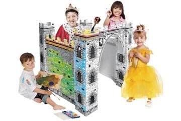 Colour In Cardboard Castle Playhouse Build Decorate Play Toy