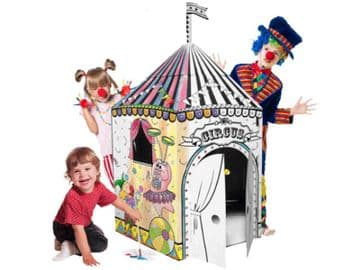 Colour In Cardboard Circus Playhouse Build Decorate Play Toy