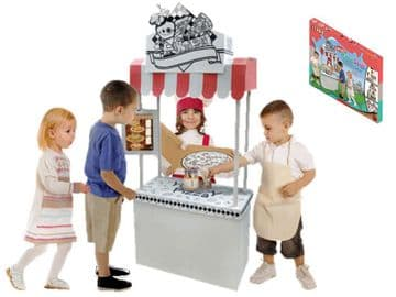 Colour In Cardboard Food Market Stall Build & Decorate Activity Role Play Toy