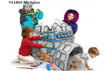 Colour In Cardboard Igloo Playhouse Build Decorate Play Toy