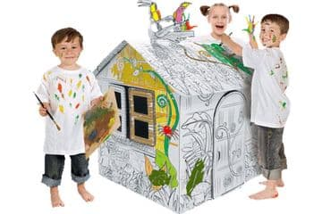 Colour In Cardboard Jungle Playhouse Build Decorate Play Toy