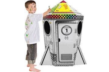 Colour In Cardboard Rocket Playhouse Build Decorate Play Toy