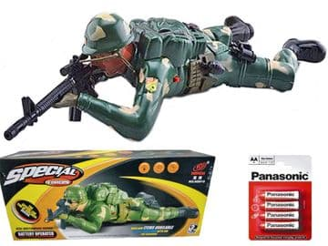 Crawling Soldier Toy Military Action Figure Battery Operated Sounds & Lights Retro