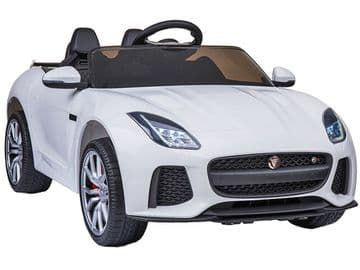 Jaguar F Type SVR Official 12v Electric Kids Ride on Car White with Remote Control