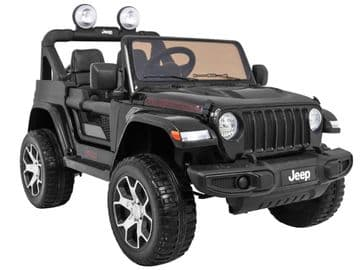 Jeep Wrangler Rubicon Licenced 12v Electric Ride on Car Black with Parental Control
