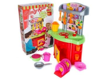 Kids Toy Kitchen Play Set Oven Sink Cooker with Accessories Pots Pans Plates Cutlery