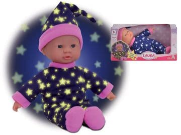 Laura Little Star 20cm Baby Doll with Glow in the Dark Stars Soft Body Outfit