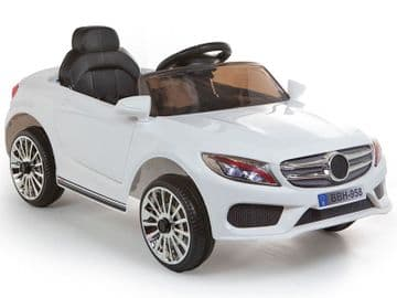 Merc C Class Style 12V Battery Powered Kids Ride on Car White with Parental Control