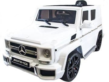 Mercedes Benz AMG G63 Jeep G Wagon White Licensed 12v Electric Ride on Car