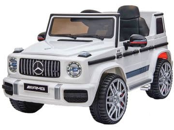 Mercedes Benz G63 AMG Jeep G Wagon White Official Licensed 12v Electric Ride on Car