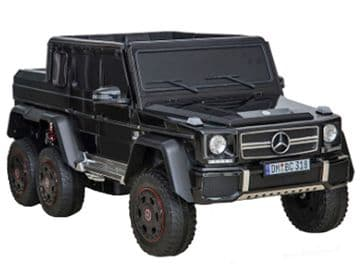 Mercedes Benz G63 Jeep G Wagon Black Licensed 24v Electric Ride on Car EVA Tires + Leather