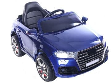 Midi Audi Q7 Style Ride On Jeep 12v Electric Toy Car Blue With Parental Radio Control