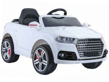 Midi Audi Q7 Style Ride On Jeep 12v Electric Toy Car White With Parental Radio Control
