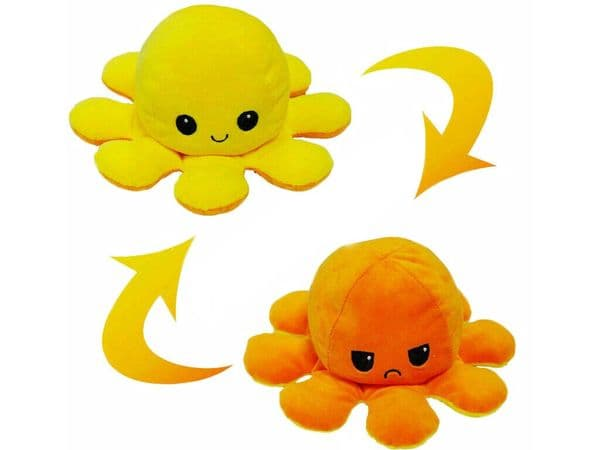 Reversible Octopus Flip-able Mood & Colour Happy or Sad Face Soft Toy