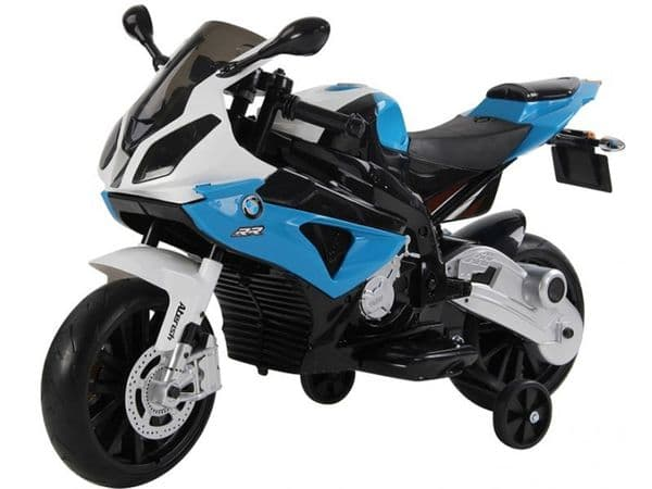 Ride On Bike 12V Electric Licensed BMW S1000RR Motorcycle with stabilizers in Blue