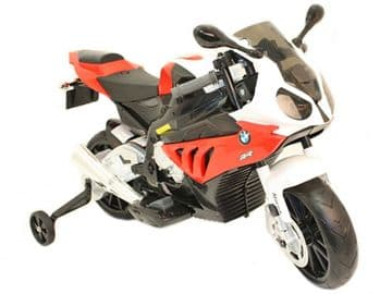 Ride On Bike 12V Electric Licensed BMW S1000RR Motorcycle with stabilizers in Red and White