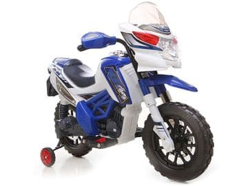 Ride On Bike 6V Electric Motocross Style Motorcycle with stabilizers in Blue