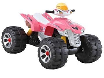Ride On Bike Interceptor 12V Electric Motorised Sit and Ride Toy Quadbike in Pink and Black