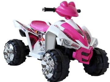 Ride On Bike Predatour 12V Electric Motorised Sit and Ride Toy Quadbike in Pink and White