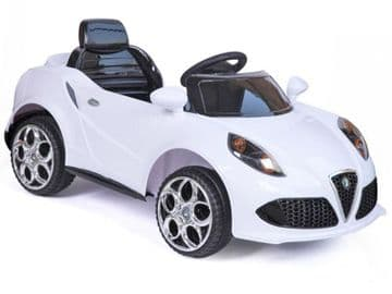 Ride on Car 12v Electric Alfa Romeo Style Sports Roadster with Parental Radio Control White