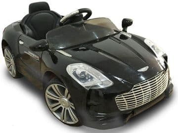 Ride on Car 12v Electric Aston Martin Style Sports Roadster with Parental Radio Control Black