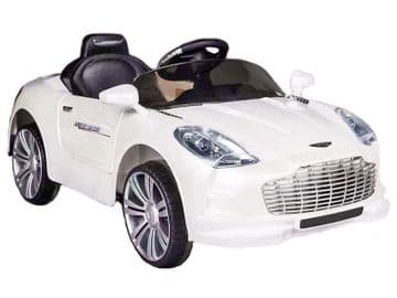 Ride on Car 12v Electric Aston Martin Style Sports Roadster with Parental Radio Control White