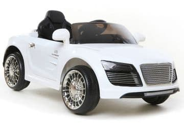 Ride on Car 12v Electric Audi R8 Style Sports Couple White Colour with Parental Radio Control