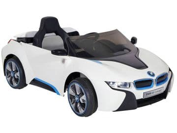 Ride on Car 12v Electric BMW i8 Official Model in White with parental control