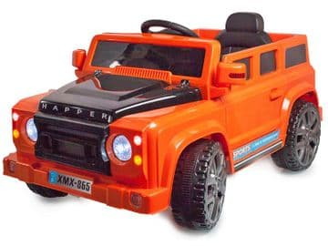 Ride on Car 12v Electric Defender Style SUV with Parental Radio Control Orange