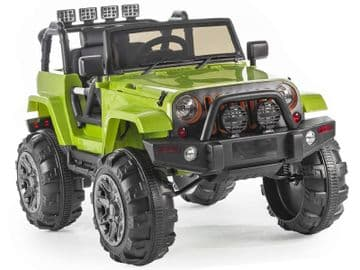 Ride on Car 12v Electric Jeep Trailcat Style SUV with Parental Radio Control Green