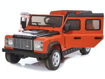 Ride on Car 12v Electric Land Rover Defender with Parental Radio Control Orange