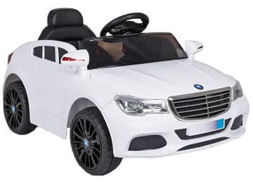 Ride on Car 12v Electric Merc C Class Style Saloon White Colour with Parental Radio Control