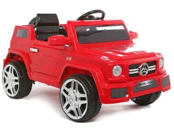 Ride on Car 12v Electric Merc G Wagon Style Jeep with Parental Radio Control Red