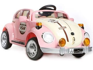 Ride on Car 12v Electric VW Beetle Classic Style Pink Colour with Parental Radio Control