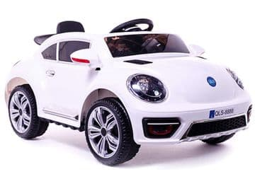 Ride on Car 12v Electric VW Beetle Style with Parental Radio Control White