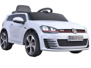 Ride on Car 12v Electric VW Golf GTi Official Licensed Model in White with Parental Control