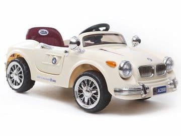 Ride on Car 6v Electric BMW Style Classic Roadster Cream Colour with Parental Radio Control