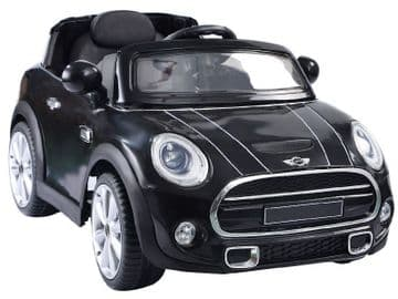 Ride on Car Mini Cooper Official Model 12v Electric with Parental Radio Control Black