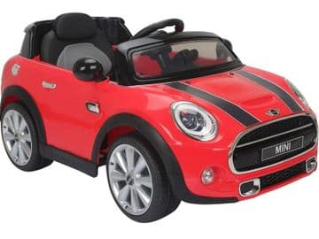 Ride on Car Mini Cooper Official Model 12v Electric with Parental Radio Control Red