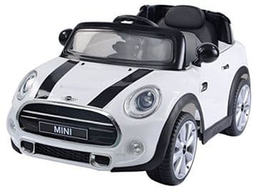 Ride on Car Mini Cooper Official Model 12v Electric with Parental Radio Control White