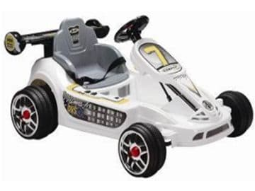 Ride On Car Twin 6V Electric Motorised Go Kart Style Sit and Ride Toy in White